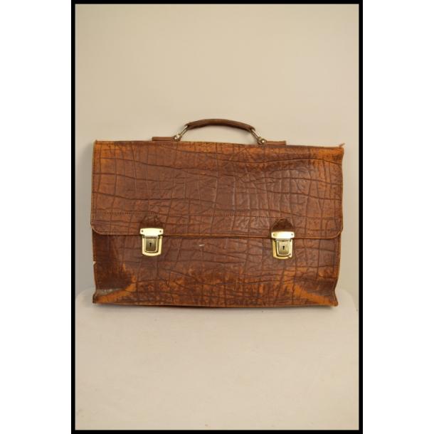 Vintage kernelæder skoletaske