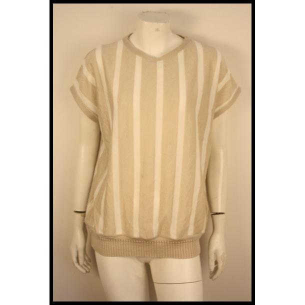 6dbf37271118 Flot vintage strik fra 80erne med lodrette striber i råhvid grå-beige.